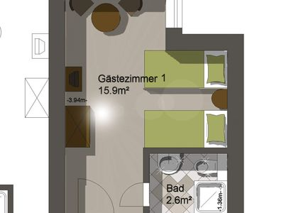 Photo for Double room No. 1 - Pension Rosengarten