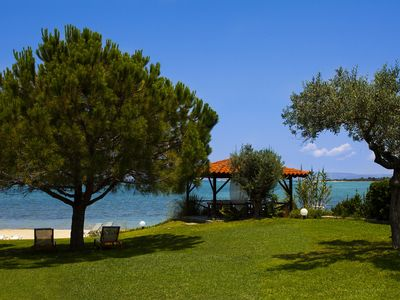 Photo for Villa right by the sea, where the wave breaks of pine wooded Vourvourou