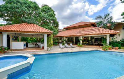 Photo for Swimming Pool, Jacuzzi, Short Walk to Beach, Free Wifi, AC, Gazebo, Fully Equipped Kitchen