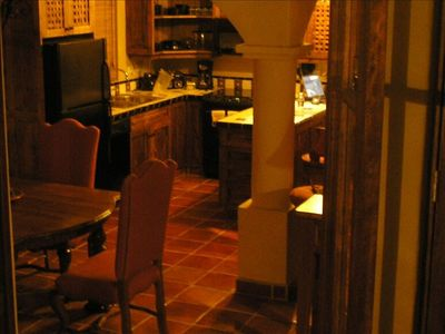 Dusk view of Dining area and Kitchen