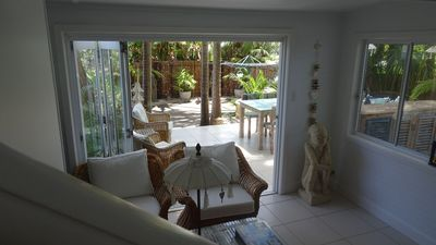 Sitting room and patio area