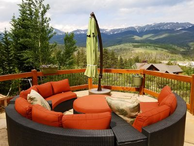 Enjoy the view from the patio at Alpine Vista Lodge