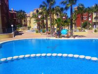 A well equipped and clean apartment with nice outside space and very pleasant and clean pool areas.