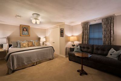 King Suite , Large Desk, Pull-out Sleeper Couch & Two large Walk-in Closets