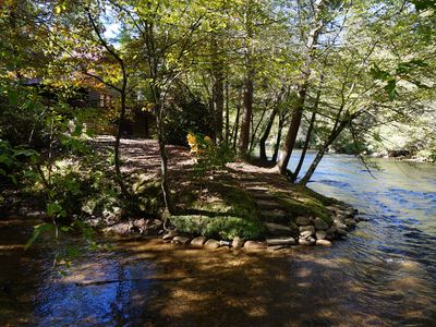Photo for Riverbend  Log Cabin, Waterfront, HotTub, Tubing, Fishing, WiFi, Cable, Fire Pit