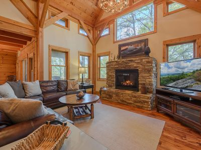 Photo for 4BR, 4.5BA Private, Elegant Cabin with Hot Tub, Seasonal Views, Minutes to App Ski Mtn.