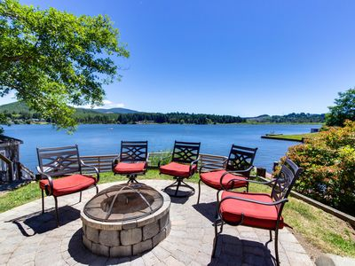 Photo for Dog-friendly lakefront vacation home w/stunning views, private dock, and deck!