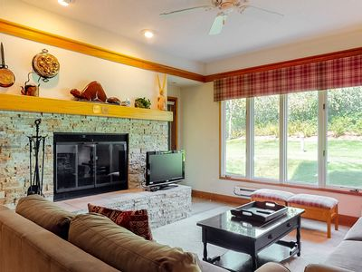 Photo for Comfy mountain condo w/wood-burning fireplace, shared pool & hot tub - near lift