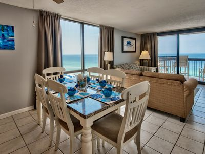 Photo for On the beach corner unit - Breath taking Gulf/Beach Views. Completely renovated.