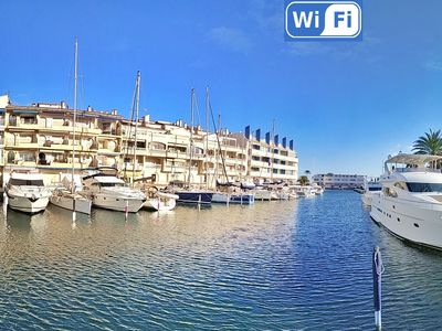 Photo for T2 with large terrace view port, canal, sea. Shops, restaurants, beach walk
