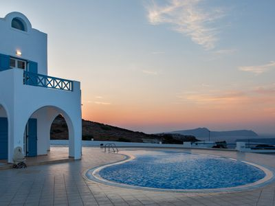 Photo for AKORANA VILLA Akrotiri Santorini Private Pool, 5 Bedrooms Up to 12 Guests Overlooking the Caldera of Santorini !