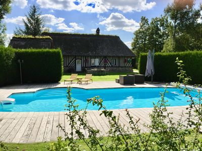 Photo for Norman thatched cottage and its guest house, for 6/7 people with heated pool