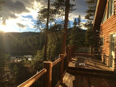 Photo for Large Custom Log Home on CO River w/ private beach, mountain views, 2.5 acres