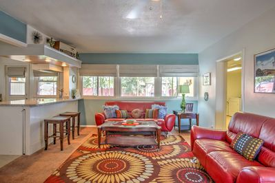 The 3-bedroom, 2-bath home accommodates 6 guests in funky style.