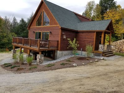 Photo for Brand New Log Home off the Sunday River access Rd, views, hot tub, game room