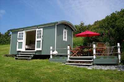 Shepherds Hut and Seating Area