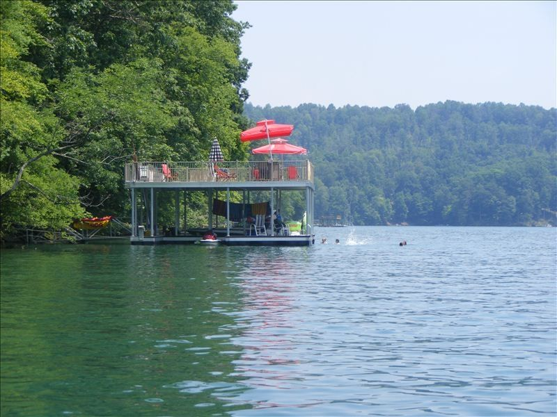 Norris lake cabin with double decker dock on private cove for Secluded cabin rentals on lake tennessee
