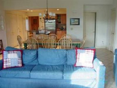 Sleeper sofa in living room, oversized chair, and love seat. Seats 6 comfortably