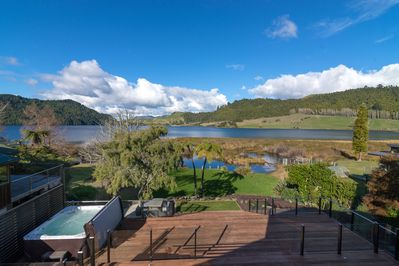 View from the living roomacross Lake Okareka to Longfords Farm