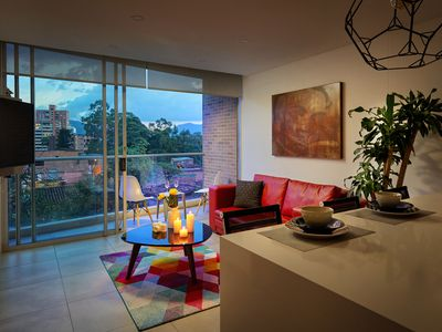 Photo for Modern, Aparta-Studio, Poblado Medellin, A/C, Heated Rooftop Pool, balcony