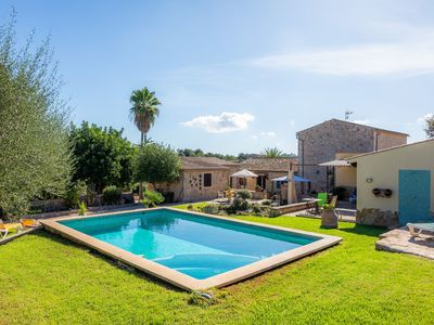 Photo for Dreamlike Finca Ses Velletes with Large Garden, Terrace, Pool, Jacuzzi, Air Conditioning & Wi-Fi, Parking Available
