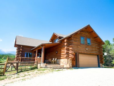 Photo for Bright Star Ranch Amazing 5 bedroom log home on 40 acres with hot tub