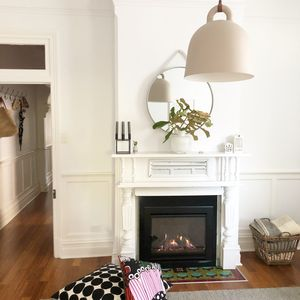 Gas log fireplace in lounge