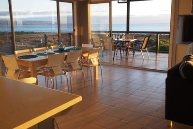 Indoor and outdoor dining areas