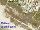 Aerial view. Just 230 feet to the beach!  We are also 1 block from the village.
