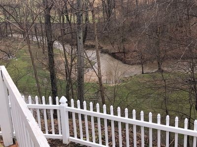 Photo for Dancing Waters Overlooks Creek Fenced in Yard Hot Tub Ping Pong Foosball Pet Friendly