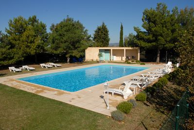 The 14x7m pool and terrace with seating and loungers