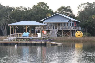 Smiley Face House  20'x20' covered dock 28' x 20' floating dock with kayak ramp