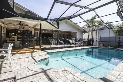 Lots of room outside in the Lanai 22000 heated pool year round, Hot Tub too!