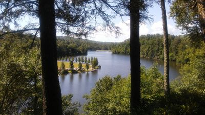 The view from one of two decks. The lake and Linville River are a short walk.