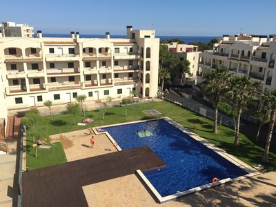 Photo for Solarium, terrace, AC, pool, parking, beach 70m, view, close to all services