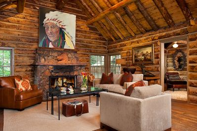 The living room in the historic cabin.