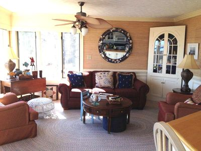 Sunroom/Family Room open to east views of the York River and the kitchen.