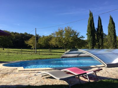 View of the pool facing the open fields.