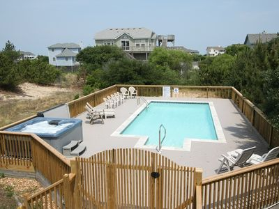 Photo for Follow The Sun: Two blocks from the ocean in Whalehead Beach. Private hot tub and pool.