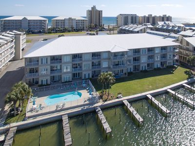 Dolphin Harbor - Rear View, Pool & Boat Slips