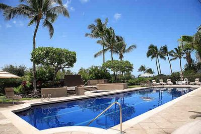 Heated Salt Water Pool-Great for Laps and Gentle on the Eyes and Skin.