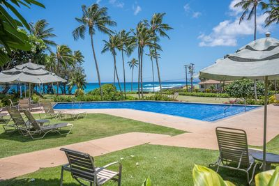 View of Poipu Beach from the pool