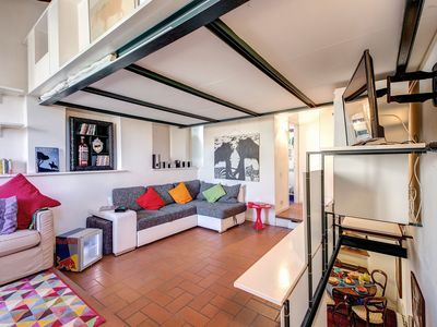 Photo for Trastevere Rainbow Penthouse apartment in Trastevere with WiFi & air conditioning.