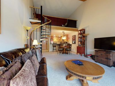Photo for NEW LISTING! Cozy condo w/ shared hot tubs, fireplace, loft & deck - ski nearby!
