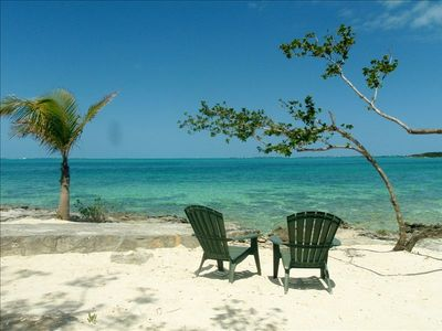 Driftaway private beach area with steps into the Sea of Abaco (front of house)