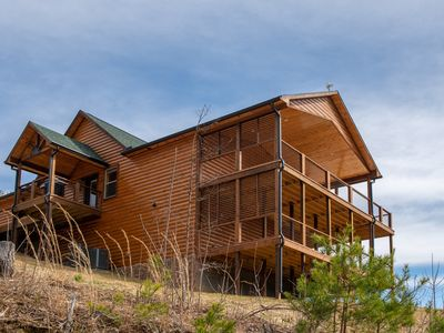 Photo for Beautiful mountainside cabin w/ private hot tub, pool table, & gas fireplace!