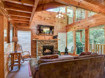 Photo for Creekside Romance, 1 Bedroom, Sleeps 10, Fire Pit, Grill, Jacuzzi, Hot Tub