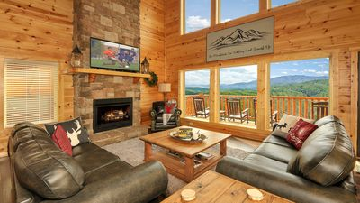 Photo for New Luxury Cabin- Private Indoor heated Pool, Theater, 2 Game Rms, Amazing Views