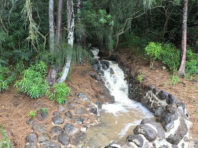Small Water Fall behind Cottage, relaxing sound after it rains to hear the water