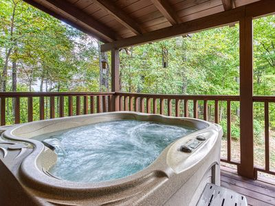 Photo for Beautiful, dog-friendly, mountain cabin w/ a private hot tub, pool table, & deck